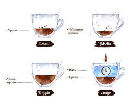 Watercolor side view illustration set of black coffee Imagens