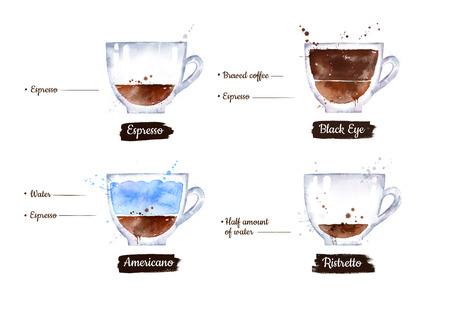 Watercolor illustration set of black coffee recipes Imagens