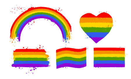 LGBT flag color symbols and banners Illustration