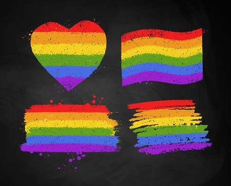 Chalked rainbow LGBT flag color banners