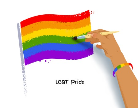 Vector illustration of hand drawing LGBT flag