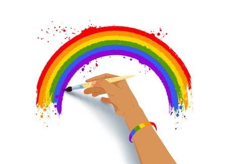 Vector illustration of hand drawing rainbow arc