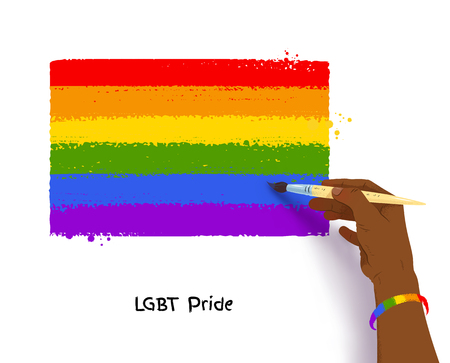African american hand drawing rainbow LGBT flag Illustration