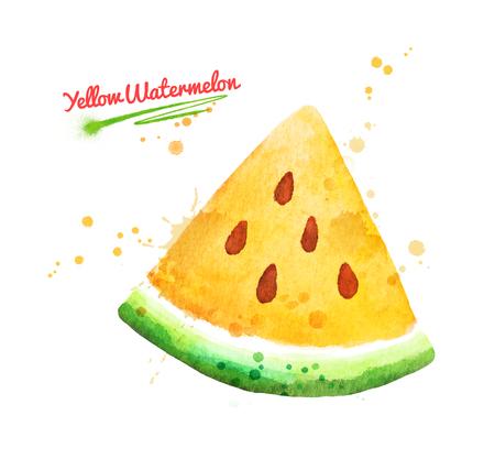 Watercolor illustration of yellow watermelon Imagens