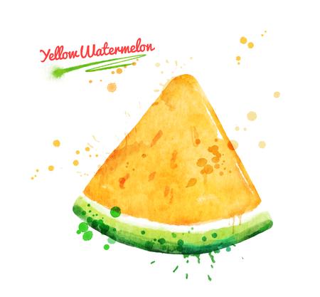 Watercolor illustration of yellow watermelon Banco de Imagens