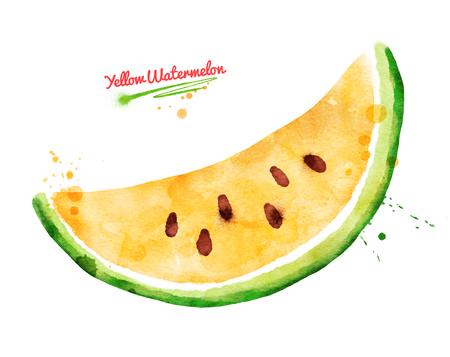 Watercolor illustration of yellow watermelon Stock Photo