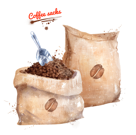 Watercolor illustration of coffee sacks and scoop