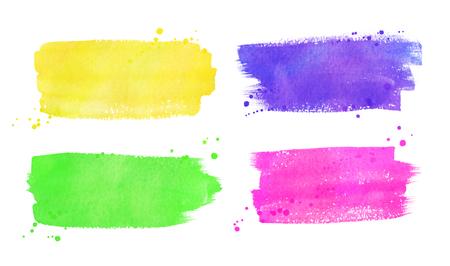 Color hand drawn watercolor brushstrokes Imagens