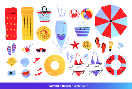 Top view illustrations set with summer accessories