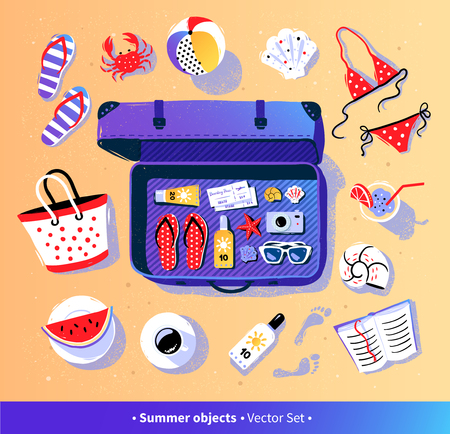 Summer vacation vector set with travel suitcase
