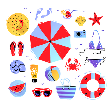 Vector seaside top view illustrations set