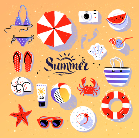 Vector summertime top view illustrations set