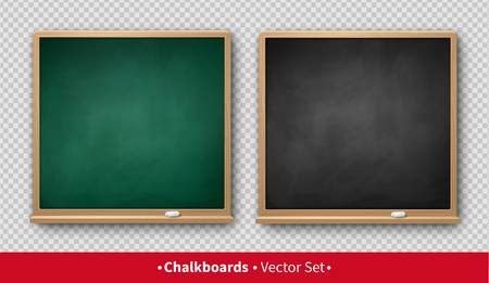 Vector illustration of green and black square chalkboards with wooden frames with piece of chalk and shadow isolated on transparency background.