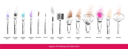 Hand drawn vector set of makeup brushes kit isolated on white background with paint smudges.