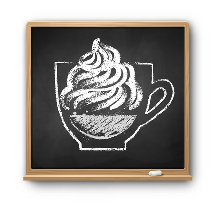 Vector illustration of square chalkboard with chalked Con Panna coffee cup drawing isolated with shadow on white background. Иллюстрация