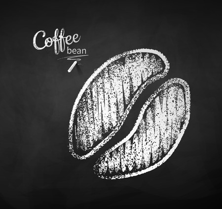 Black and white vector chalk drawn sketch of one coffee bean silhouette on chalkboard background.
