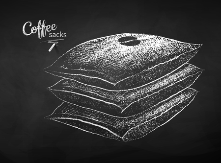 Black and white vector chalk drawn sketch of stack of closed sacks with coffee beans on chalkboard background.