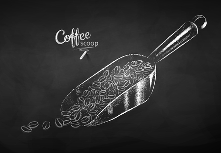 Black and white vector chalk drawn sketch of metal coffee scoop with pile of beans on chalkboard background.