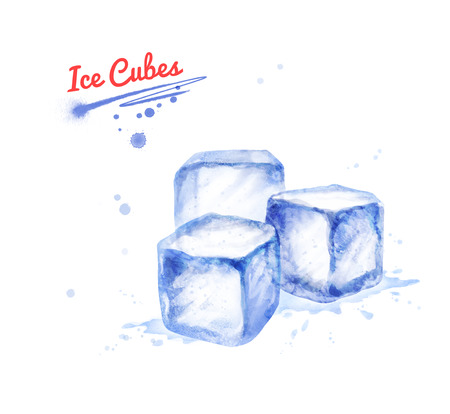 Watercolor illustration of three Ice Cubes
