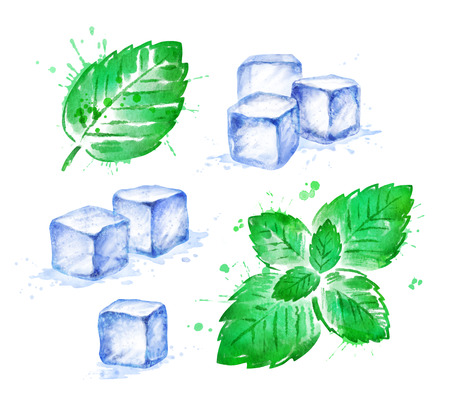 Watercolor set of Mint leaves and Ice Cubes Stock fotó - 123051125