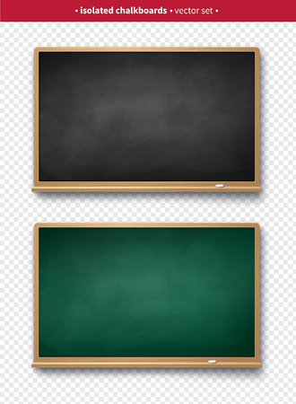 Vector illustration set of black and green vintage horizontal chalkboards with wooden frames with piece of chalk and shadow isolated on transparency background.