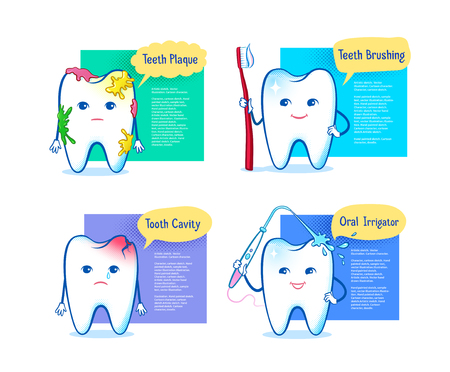 Vector illustration set of tooth characters Illustration
