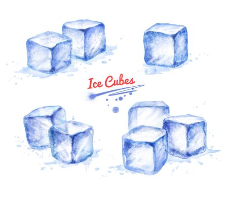 Watercolor hand drawn illustration set of Ice Cubes. With paint splashes. Stock fotó - 126442305