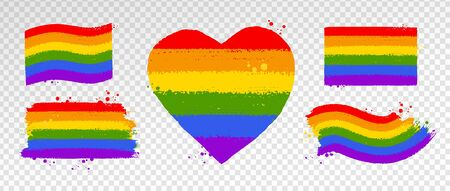 Vector collection of LGBT flag color symbols Illustration