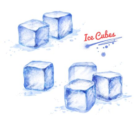 Watercolor hand drawn illustration collection of Ice Cubes 版權商用圖片