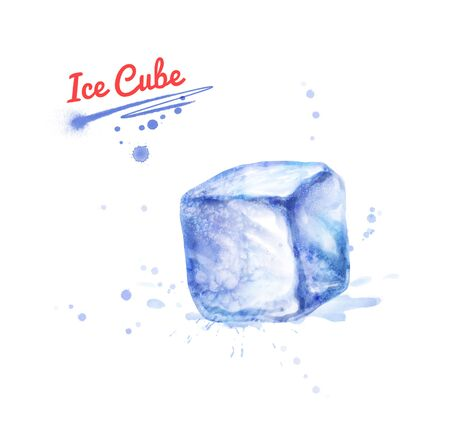 Watercolor illustration of one Ice Cube Stok Fotoğraf