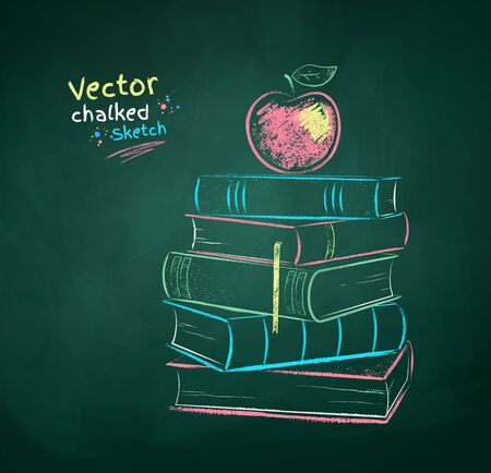Chalk drawn illustration of apple on books