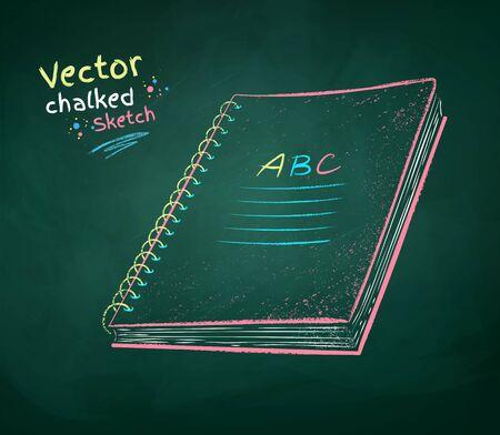 Vector color chalk drawn illustration of school notebook on green chalkboard background.