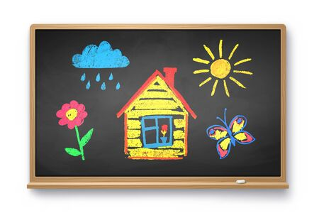 Vector illustration of vintage chalkboard with kids drawing isolated on white background.