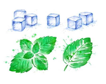 Watercolor Mint leaves and Ice Cubes Banque d'images - 134863411