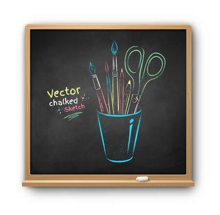 Chalk drawn illustration of art tools in holder Stok Fotoğraf