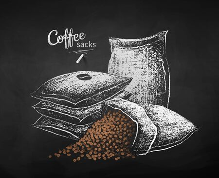 Vector chalk drawn sketches of sacks with coffee beans on chalkboard background. 向量圖像