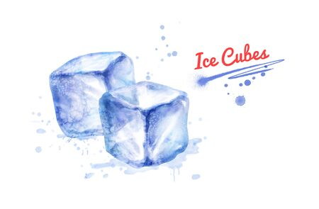 Watercolor illustration of two Ice Cubes