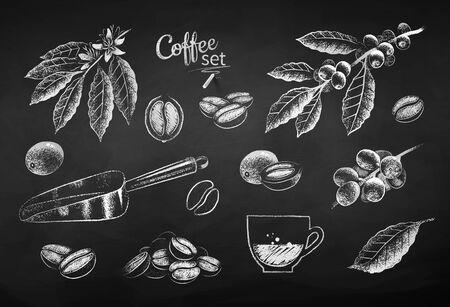 Chalk drawn illustration set of coffee items