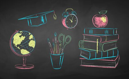 Chalk illustrations of education items