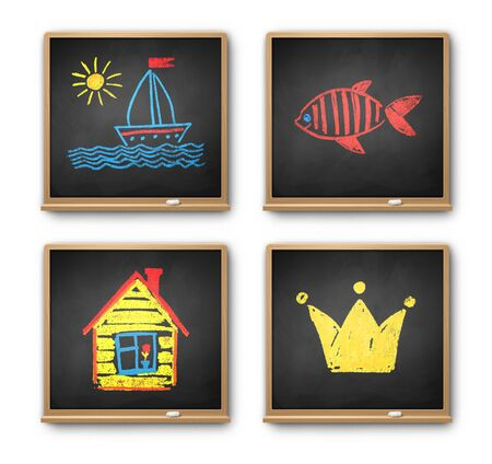 Vintage chalkboards with kids drawing