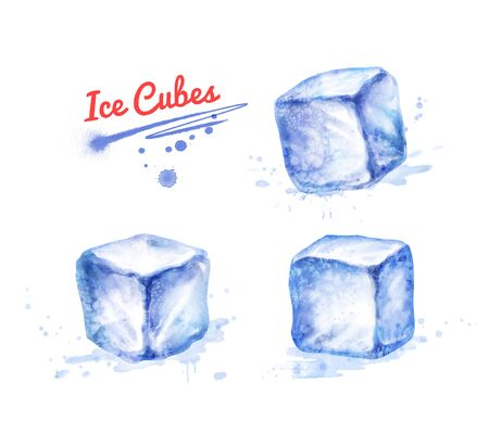 Watercolor illustration of Ice Cubes