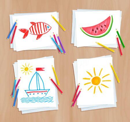 Child drawing of summer doodles Illustration