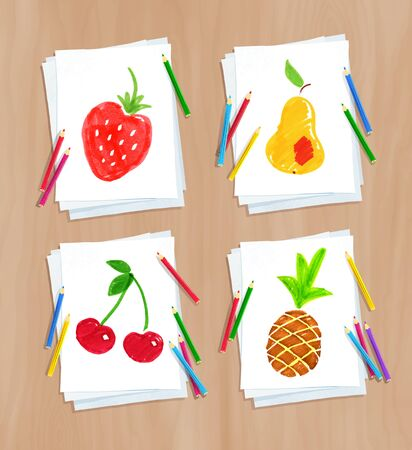 Child drawing of fruit doodles