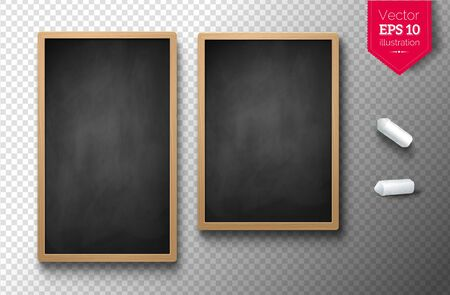 Isolated vertical menu boards with chalk pieces