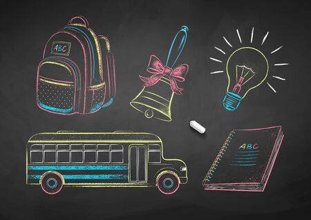 Chalk drawn illustrations of education items 向量圖像