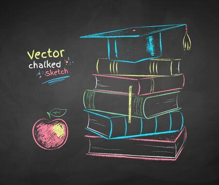 Chalk drawn books and graduation hat Zdjęcie Seryjne