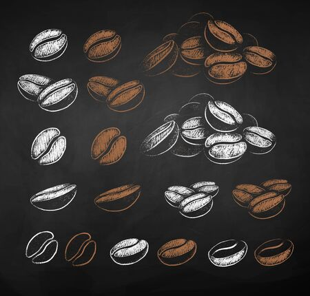 Vector chalk sketches set of coffee beans