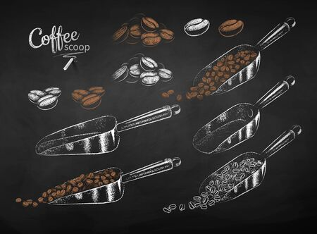 Chalked set of metal coffee scoops and beans