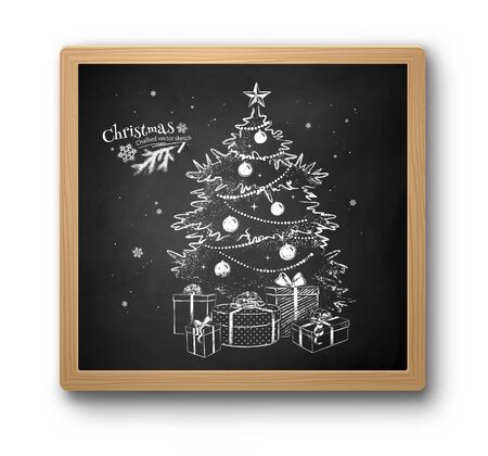 Chalked sketch of Christmas tree 向量圖像