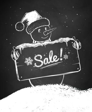 Chalk vector sketch of Christmas Snowman 向量圖像